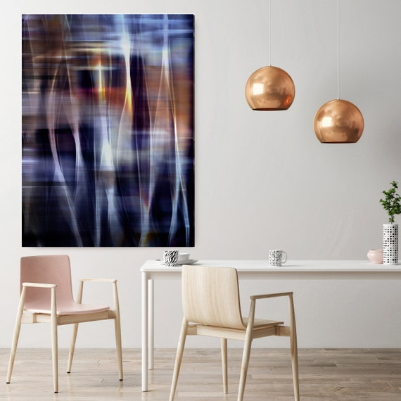 "Mysterious Light 72-2, Neon Blue Brown Contemporary Wall Art, Extra Large New Media Canvas Art Print up to 72"" by Irena Orlov"