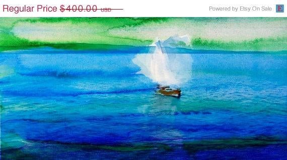 "Sailing Sunrise . Canvas Print by Irena Orlov 48"" x 20"", large landscape canvas print, wall decor, abstract landscaps, nature print"