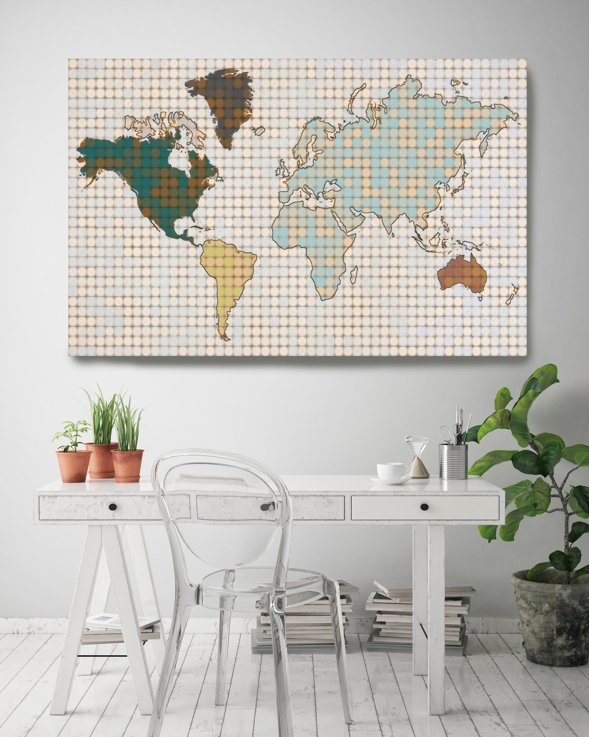 Minimalist World Map Huge World Map Pixel World Map Industrial