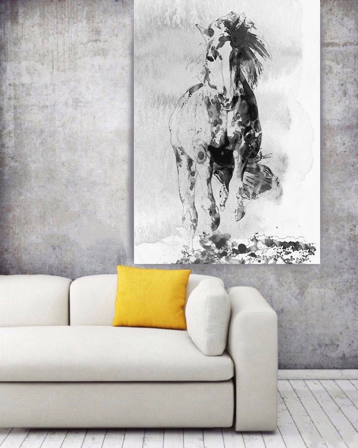 Wild Running Horse 3 Extra Large Horse Wall Decor Black White Horse Painting Large Contemporary Canvas Art Print Up To 72 By Irena Orlov