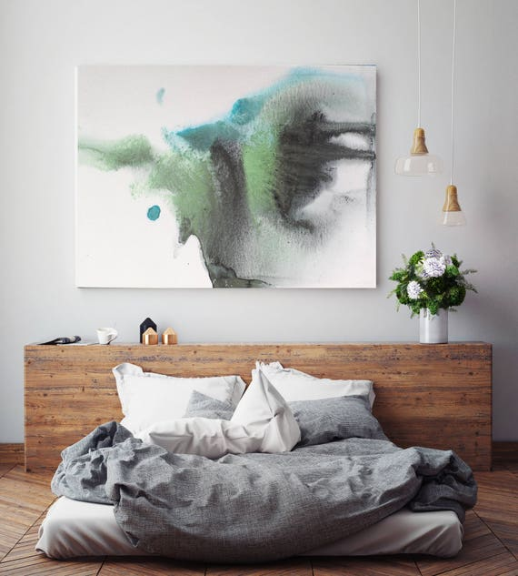 "Watercolor Coastal Abstract 112. Watercolor Abstract Black Green Teal, Watercolor Painting Print Canvas Art Print up to 72"" by Irena Orlov"