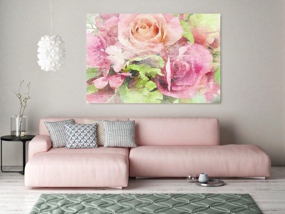 """ORL-8019 Passion. Floral Painting, Rose, Pink Abstract Art, Large Abstract Colorful Contemporary Canvas Art Print up to 72"""" by Irena Orlov"""