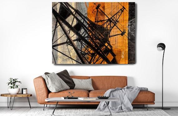 High-voltage tower.Industrial Painting, Industrial Artwork, Industrial Canvas Print, Urban Art, Coper Black Industrial Wall Art Decor