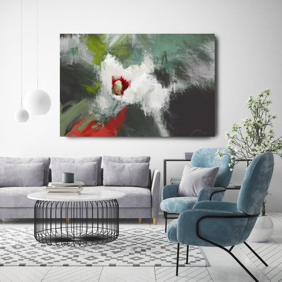 Blossoms light. Floral Painting, White Green Gray Abstract Art, Floral Canvas Print,  Flower Painting, White Green Red Flower, Flower Decor