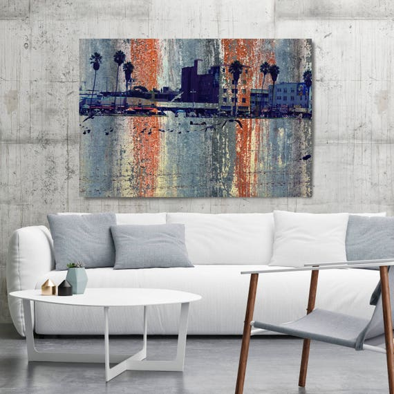 Los Angeles, Venice Beach. Extra Large Architectural Cityscape Canvas Art Print. Rustic URBAN Canvas Art Print, Venice Beach Painting