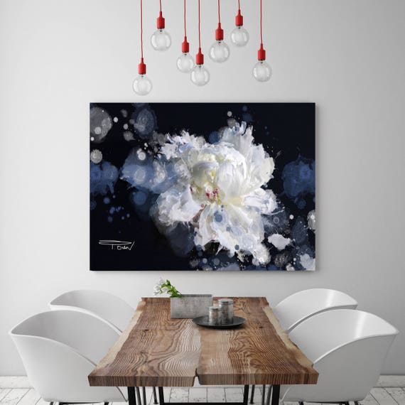 "Breathless. Floral Painting, Black Blue White Abstract Art, Large Abstract Colorful Contemporary Canvas Art Print up to 72"" by Irena Orlov"