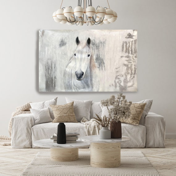 """White Western Horse- Oil Painting on Canvas, White Horse Portrait 72 H X 50"""" W,  Rolled"""