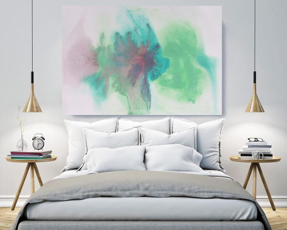 "Aqua Green. Contemporary Abstract Green Aqua Canvas Art Print up to 72"", Extra Large Abstract Canvas Art Print by Irena Orlov"
