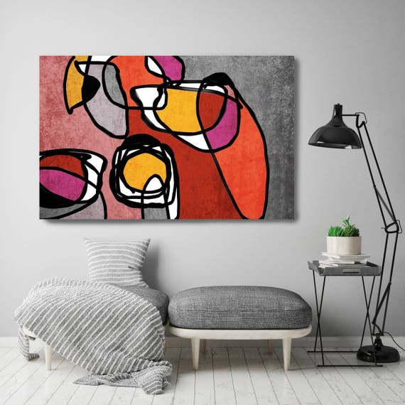 "Vibrant Colorful Abstract-0-52. Mid-Century Modern Red Gray Canvas Art Print, Mid Century Modern Canvas Art Print up to 72"" by Irena Orlov"