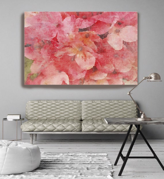 "ORL-8058-1 Dusty Pink. Floral Painting, Pink Red Rustik Art Large Abstract Colorful Contemporary Canvas Art Print up to 72"" by Irena Orlov"