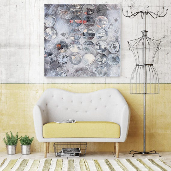 Industrial Mixed Media Circles 89-2017, Abstract Original Acrylic Canvas Painting 24 x 24, Grey, White Abstract Rustic Art by Irena Orlov