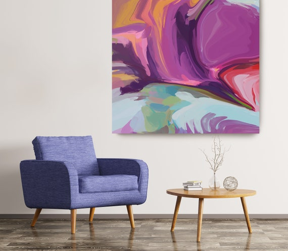 Desert Mirage 22, Abstract Purple Blue Original Painting, Contemporary art, Abstract Painting Print Canvas Print Fluid Painting Fluid Art