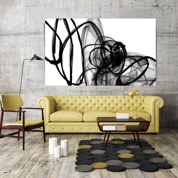 "Inside Out,  Black and White Contemporary Unique Abstract Wall Decor, Large Contemporary Canvas Art Print up to 72"" by Irena Orlov"