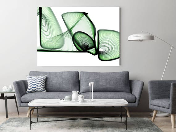 "ORL-10287-10-45-2 BlueTech 2017-04-13. Unique Green Abstract Wall Decor, Large Contemporary Canvas Art Print up to 72"" by Irena Orlov"