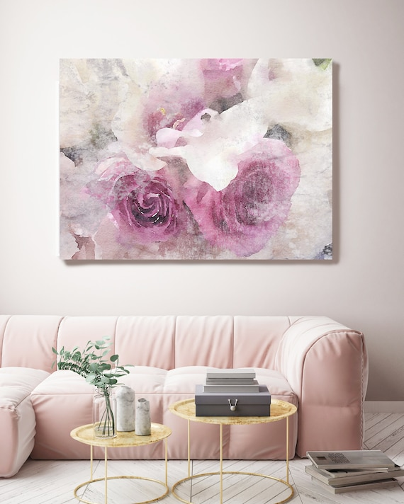 "Shabby Roses 2. Floral Painting, Pink Gray Rustic Watercolor Floral Canvas Print, Large Rustic Canvas Art Print up to 72"" by Irena Orlov"