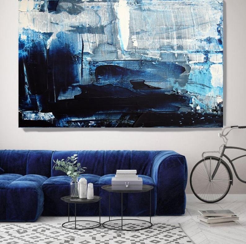 Mondrian Blue Abstract Art Navy Blue Abstract Painting Oversized Blue White Painting Dark Blue Painting Fine Art Canvas Print Up To 80