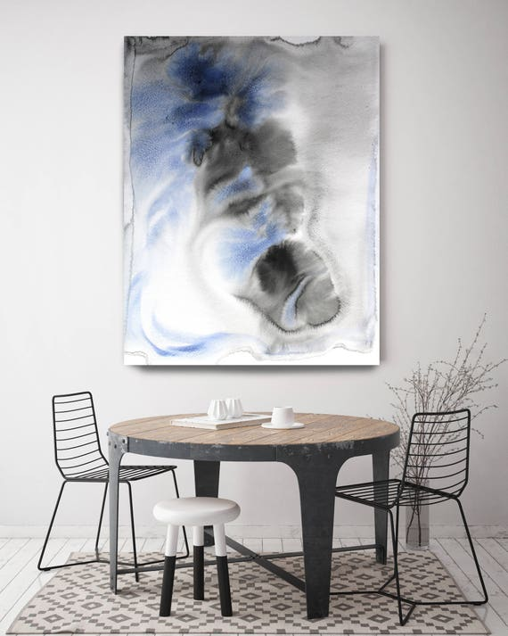 """Coastal Watercolor Abstract 50-2. Watercolor Abstract Blue Black Canvas Art Print up to 72"""" by Irena Orlov"""