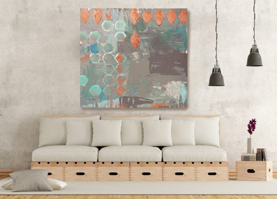 """ORL-2816 GeoMix II. Geometrical Abstract Art, Extra Large Abstract Gray Aqua Orange Contemporary Canvas Art Print up to 48"""" by Irena Orlov"""