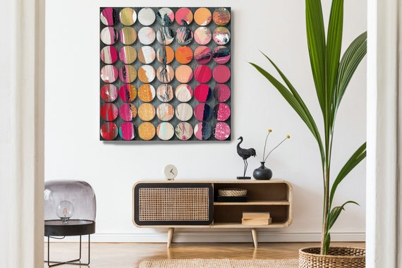 Geometric Abstract Painting, Circles Abstract Art, Modern Wall Decor, Large Canvas Art Print, Visual Experience 15, Abstract Canvas Print