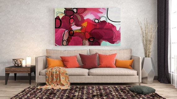 "Sun Salutation. Red Abstract Art, Wall Decor, Extra Large Abstract Colorful Contemporary Canvas Art Print up to 72"" by Irena Orlov"