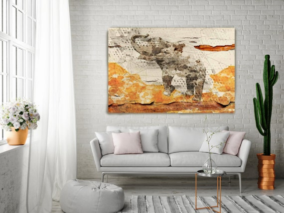 "Walking Elephant Canvas Art Print, Orange Brown Cream Animal Canvas Art Print, Rustic Elephant Wall Art up to 72"" by Irena Orlov"