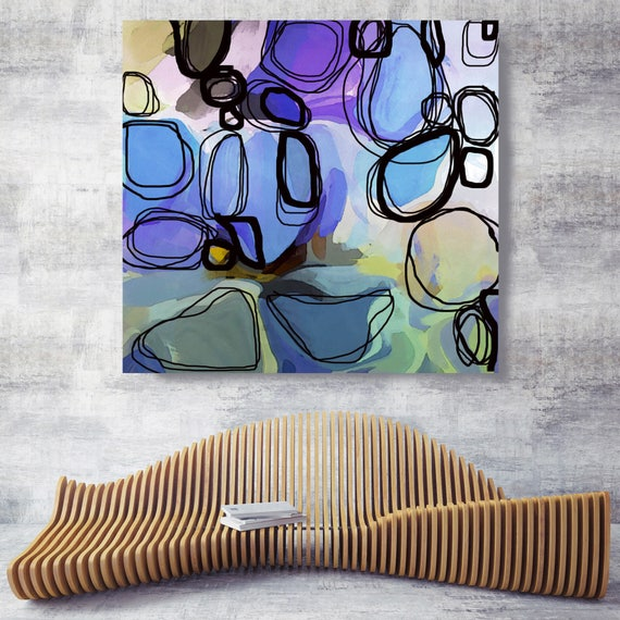 """Lavender Blush. Purple, Green Abstract Art, Wall Decor, Large Abstract Colorful Contemporary Canvas Art Print up to 48"""" by Irena Orlov"""
