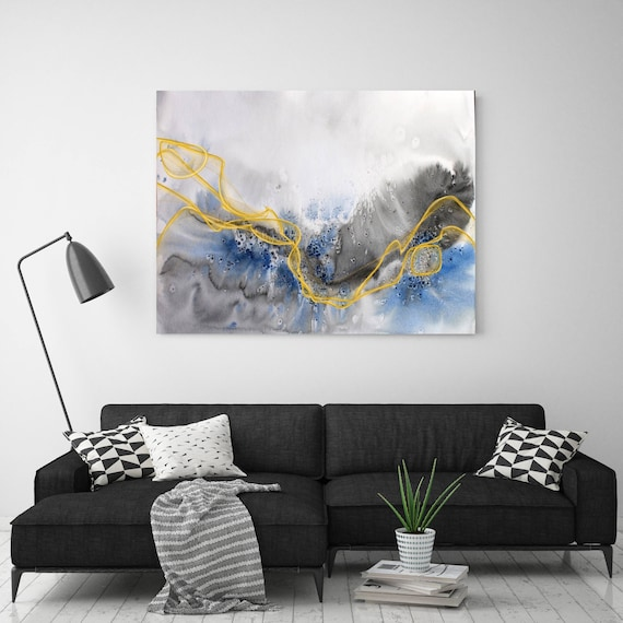 "Coastal Watercolor Abstract 124. Watercolor Abstract Blue Black Gold Canvas Art Print, Watercolor Painting Print up to 72"" by Irena Orlov"