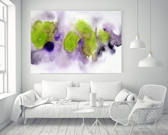 "ORL-11852-3 Green and Purple Watercolor abstract splash 1. Watercolor Abstract Green Purple Canvas Art Print up to 72"", by Irena Orlov"
