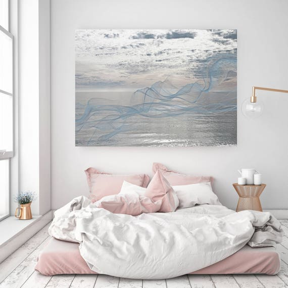 "ORL-11587-6 Silver ocean breeze 3. Extra Large Contemporary Blue Canvas Art Print, Seascape Abstract Canvas Art up to 80""  by Irena Orlov"