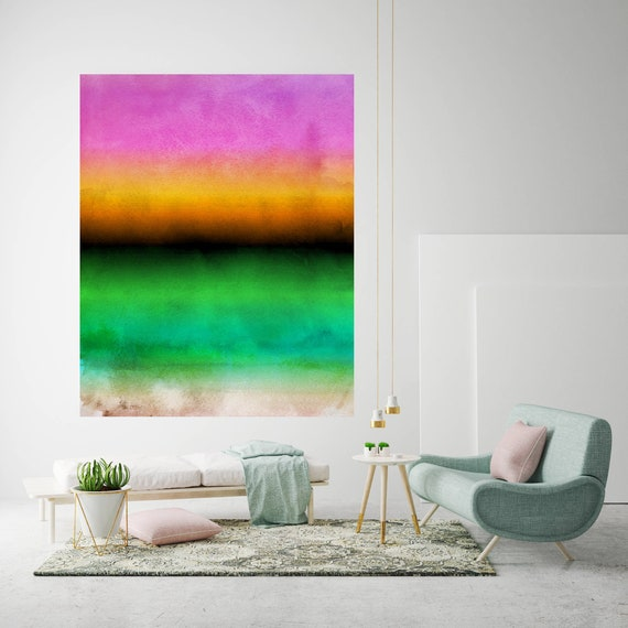 "Inspired by Rothko 50. Ombre Watercolor Abstract, Green Pink Watercolor Painting Print,Extra Large Canvas Art Print up to 72"" by Irena Orlov"