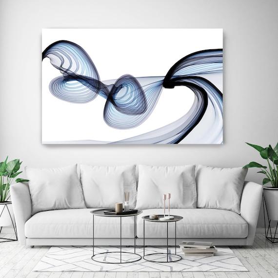 "BlueTech 2017-04-13, New Media Art, Blue Abstract Canvas Print, Extra Large Abstract Canvas Art Print up to 90"" by Irena Orlov"