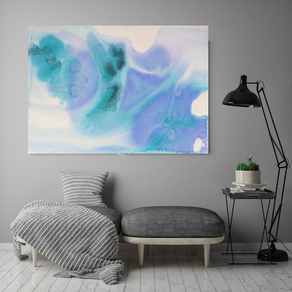 "Watercolor Coastal Abstract 51. Watercolor Abstract Blue Purple  Canvas Art Print, Watercolor Painting Print up to 72"" by Irena Orlov"