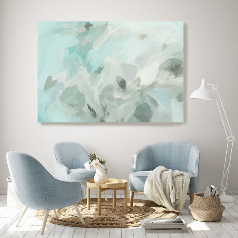 Teal Modern Abstract Wall Art Decor Green Abstract Art Large Wall Art Teal Abstract Canvas Print Sailing in the light Wall Art for Home