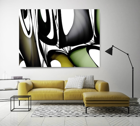 "Mid Century Abstract 29-1. Mid-Century Modern Green Black Canvas Art Print, Mid Century Modern Canvas Art Print up to 72"" by Irena Orlov"