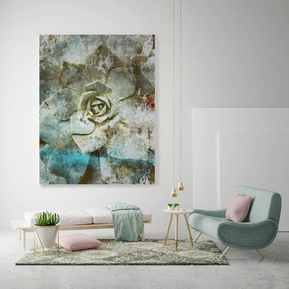 "Sempervivum. Rustic Green Succulent Canvas Art Print, Tropical Succulent Oversized Canvas Wall Art Print up to 72"" by Irena Orlov"