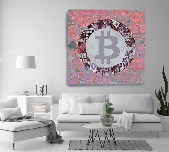 Pink Bitcoin Cryptocurrency Graffiti Canvas Print. Bitcoin Abstract Modern Office Decor Cryptocurrency Wall Art Home Office Bitcoin Graffiti