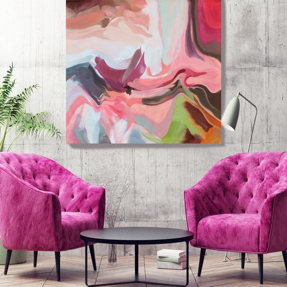 "Environmental Vibrations 3. Pink, Green, Magenta, Grey LARGE Abstract Painting Canvas Print or Oil Painting up to 50"" by Irena Orlov"