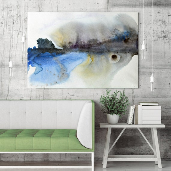 "ORL-7952 On A Misty Morning. Watercolor Abstract, Modern Wall Decor, Extra Large Abstract Colorful Canvas Art Print up to 72"" by Irena Orlov"