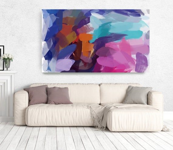 "The Color Movement 14, Abstract Painting Modern Wall Art Painting Canvas Art Print Art Modern Pink Red Blue Green up to 80"" by Irena Orlov"
