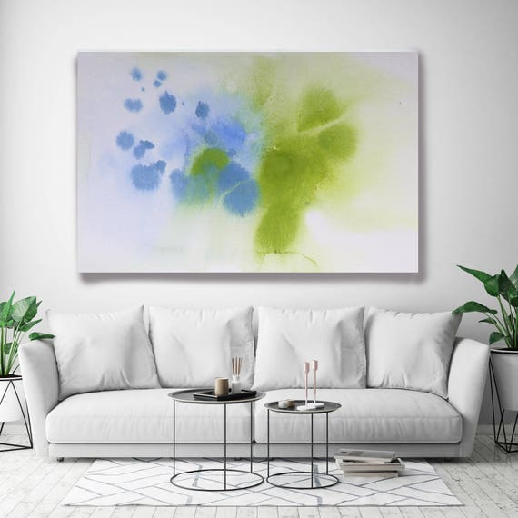 "Coastal Watercolor Abstract 82. Watercolor Abstract Blue Green Canvas Art Print, Watercolor Painting Print up to 72"" by Irena Orlov"
