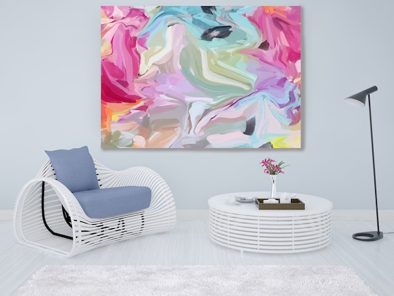 Gravitational Influence 2, Abstract Painting Extra Large Abstract Hand Painted Acrylic Painting Pink Blue Contemporary Canvas Print