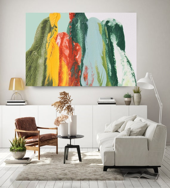 Weekend, Green Blue Yellow Abstract Painting Modern Art Abstract Painting Extra Large Painting Extra Large Abstract Canvas Print