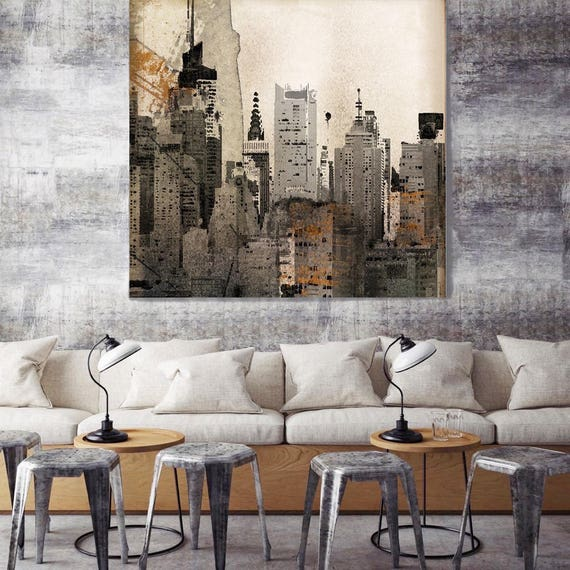 """New York. Lost in Time, EXTRA Large Architectural Cityscape Canvas Art Print. Rustic Brown URBAN Canvas Art Print up to 48"""" by Irena Orlov"""