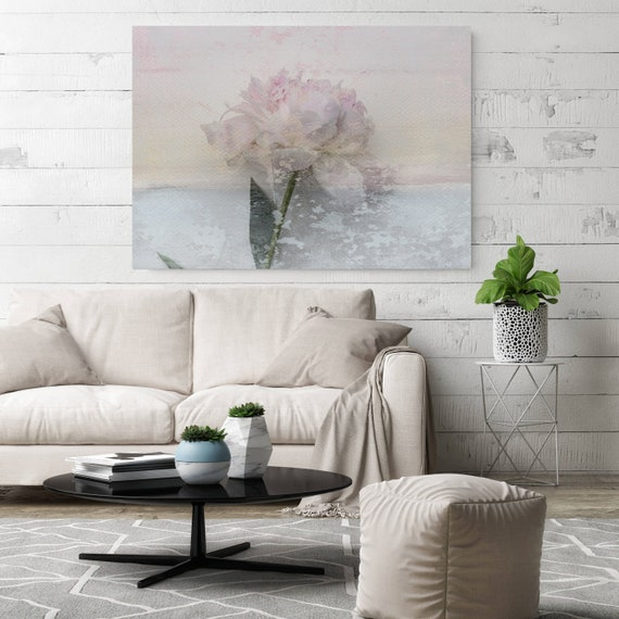 Peony passion 7, Shabby Pink Blue Rustic Peony Painting, Shabby Chic Blush Peony Painting Canvas Art Print Floral Print Blush Pink