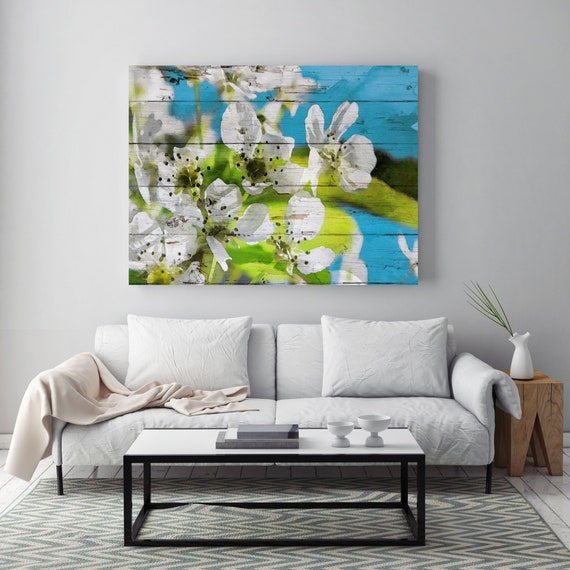 White Blooming Tree Painting, Cherry Blossom Painting, Cherry Blossoms Watercolor Painting Canvas Print Instantly you feel it.