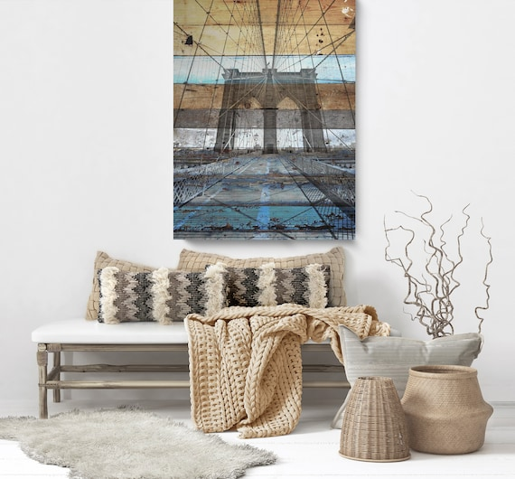 "New York. Brooklyn Bridge II. Extra Large Rustic Blue Brown Architectural Canvas Art Print up to 60""  by Irena Orlov"