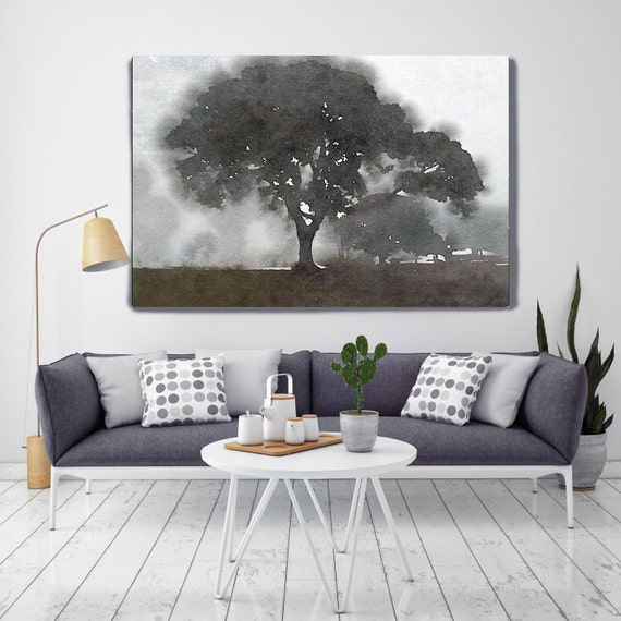 "Foggy Trees. Huge Rustic Landscape Painting Canvas Art Print, Extra Large Brown Grey Black White Canvas Art Print up to 80"" by Irena Orlov"