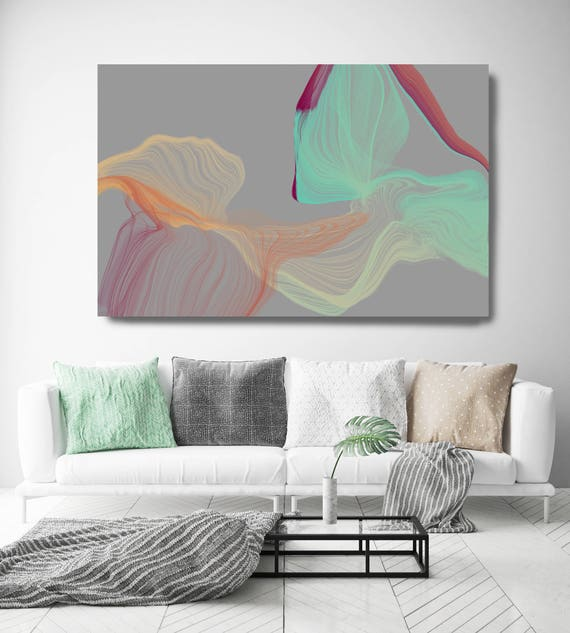 "Color Breeze 67. Abstract New Media Art, Wall Decor, Extra Large Abstract Gray Teal Yellow Canvas Art Print up to 72"" Irena Orlov"