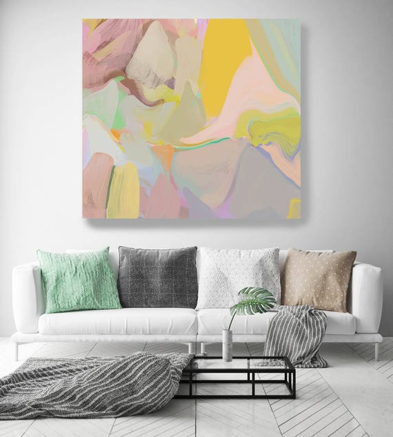 """Sunny City. Original Oil Painting on Canvas, Contemporary Abstract Yellow, Green,, Gray Trend Color Oil Painting up to 50"""" by Irena Orlov"""