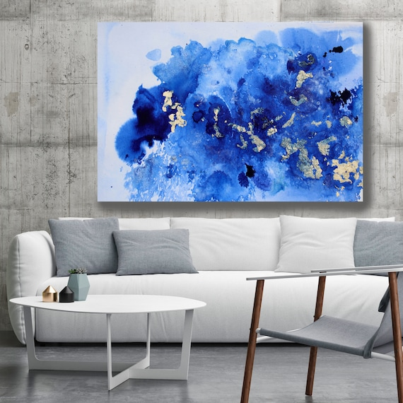 Blue Gold Watercolor Abstract, Extra Large Abstract Canvas Art Print Navy Blue Painting, Oversized Art, Navy Blue Splash Painting